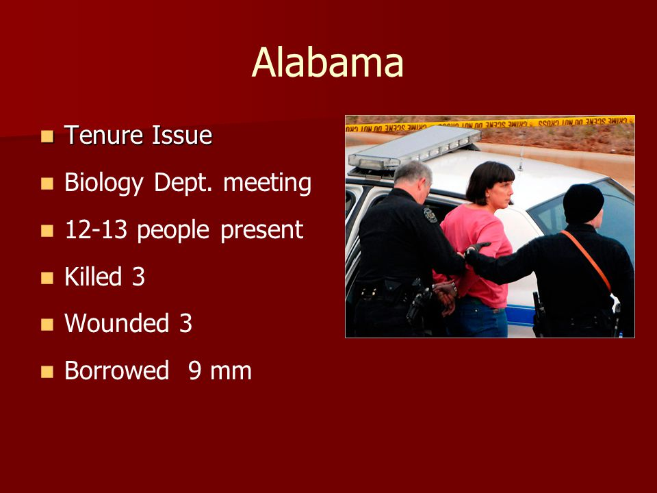 Alabama Tenure Issue Tenure Issue Biology Dept. meeting 12-13 people present Killed 3 Wounded 3 Borrowed 9 mm