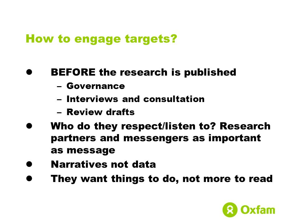 How to engage targets.