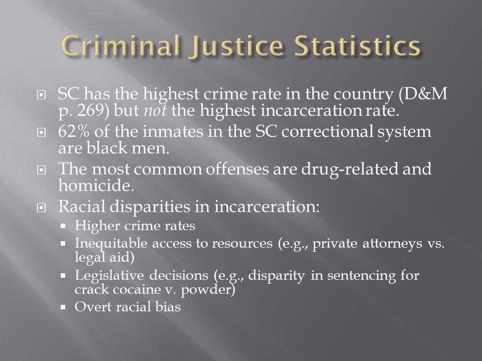  SC has the highest crime rate in the country (D&M p.