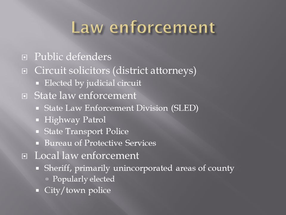  Public defenders  Circuit solicitors (district attorneys)  Elected by judicial circuit  State law enforcement  State Law Enforcement Division (SLED)  Highway Patrol  State Transport Police  Bureau of Protective Services  Local law enforcement  Sheriff, primarily unincorporated areas of county  Popularly elected  City/town police