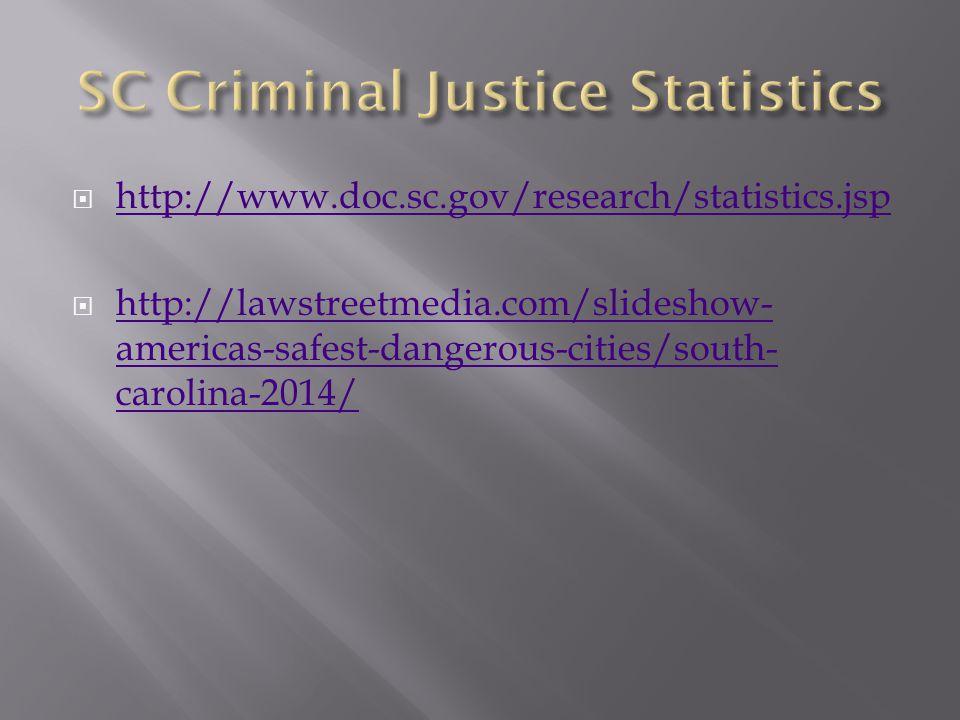  http://www.doc.sc.gov/research/statistics.jsp http://www.doc.sc.gov/research/statistics.jsp  http://lawstreetmedia.com/slideshow- americas-safest-dangerous-cities/south- carolina-2014/ http://lawstreetmedia.com/slideshow- americas-safest-dangerous-cities/south- carolina-2014/
