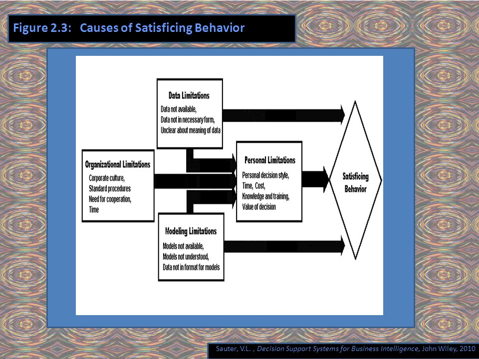 Sauter, V.L., Decision Support Systems for Business Intelligence, John Wiley, 2010 Figure 2.3: Causes of Satisficing Behavior