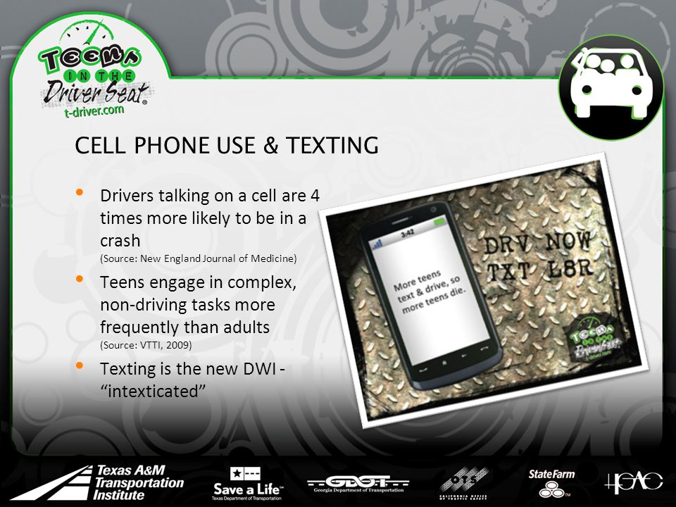 CELL PHONE USE & TEXTING Drivers talking on a cell are 4 times more likely to be in a crash (Source: New England Journal of Medicine) Teens engage in complex, non-driving tasks more frequently than adults (Source: VTTI, 2009) Texting is the new DWI - intexticated