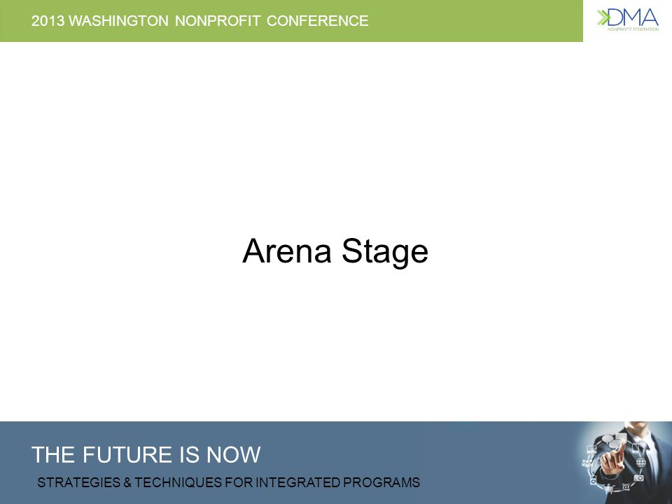 THE FUTURE IS NOW STRATEGIES & TECHNIQUES FOR INTEGRATED PROGRAMS 2013 WASHINGTON NONPROFIT CONFERENCE Arena Stage