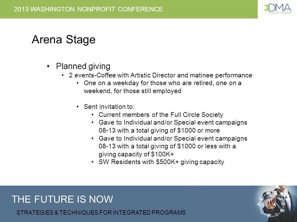 THE FUTURE IS NOW STRATEGIES & TECHNIQUES FOR INTEGRATED PROGRAMS 2013 WASHINGTON NONPROFIT CONFERENCE Arena Stage Planned giving 2 events-Coffee with Artistic Director and matinee performance One on a weekday for those who are retired, one on a weekend, for those still employed Sent invitation to: Current members of the Full Circle Society Gave to Individual and/or Special event campaigns 08-13 with a total giving of $1000 or more Gave to Individual and/or Special event campaigns 08-13 with a total giving of $1000 or less with a giving capacity of $100K+ SW Residents with $500K+ giving capacity