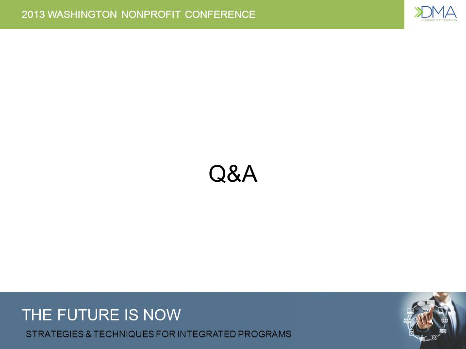 THE FUTURE IS NOW STRATEGIES & TECHNIQUES FOR INTEGRATED PROGRAMS 2013 WASHINGTON NONPROFIT CONFERENCE Q&A