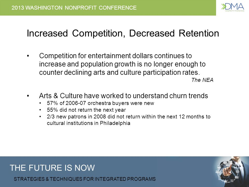 THE FUTURE IS NOW STRATEGIES & TECHNIQUES FOR INTEGRATED PROGRAMS 2013 WASHINGTON NONPROFIT CONFERENCE Churn, Its Human Nature Retail Banking - 15% Cable and Satellite companies - 20-30% Mobile phone providers - 15-30%