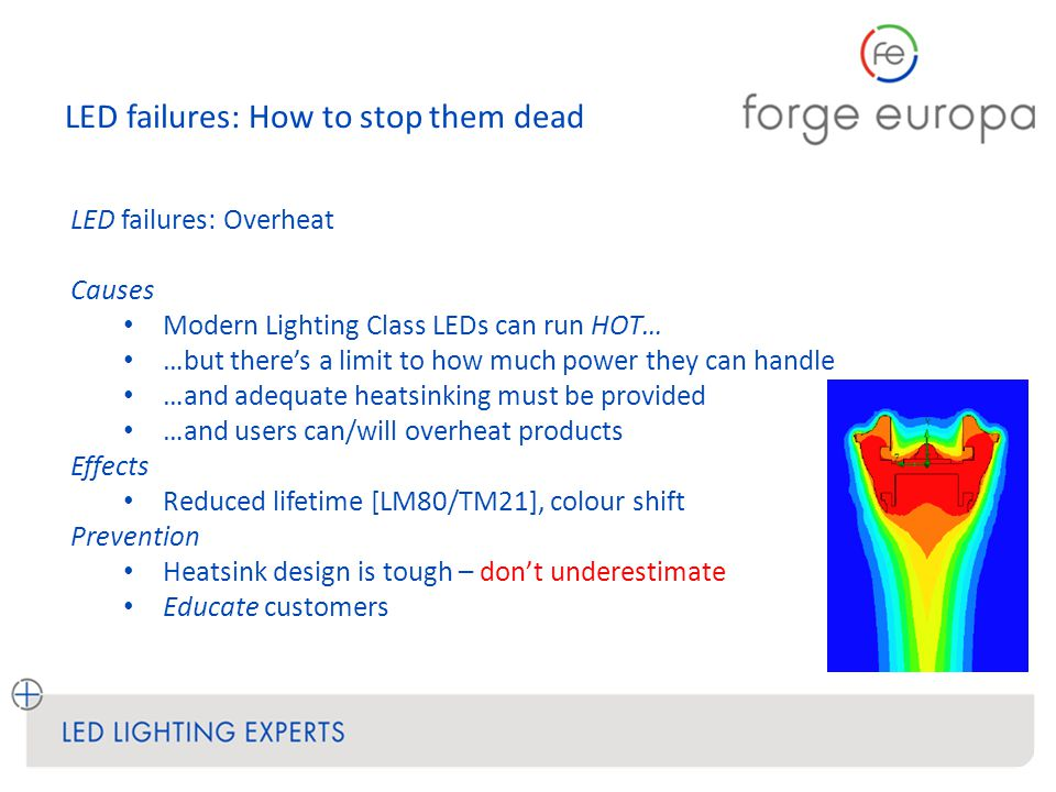 LED failures: How to stop them dead LED failures: Overheat Causes Modern Lighting Class LEDs can run HOT… …but there's a limit to how much power they can handle …and adequate heatsinking must be provided …and users can/will overheat products Effects Reduced lifetime [LM80/TM21], colour shift Prevention Heatsink design is tough – don't underestimate Educate customers