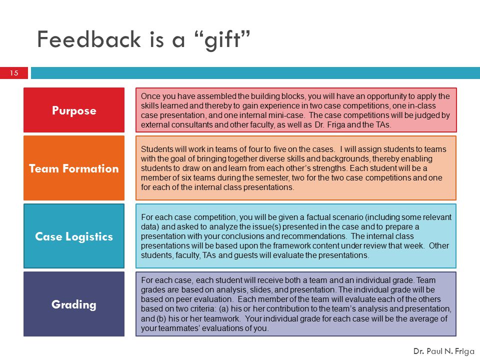 "Feedback is a ""gift"" Purpose Team Formation Grading Case Logistics Once you have assembled the building blocks, you will have an opportunity to apply"