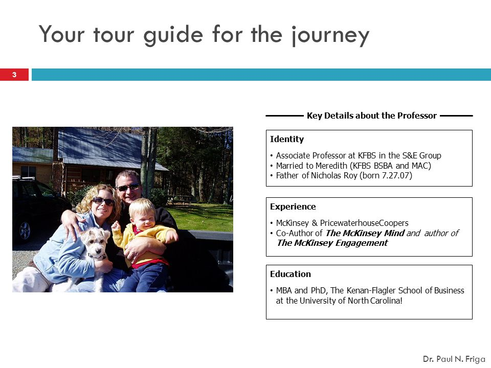 Your tour guide for the journey Key Details about the Professor Experience McKinsey & PricewaterhouseCoopers Co-Author of The McKinsey Mind and author