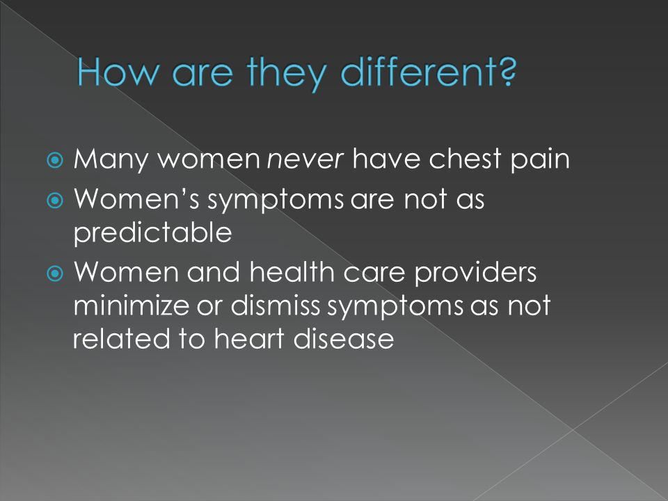  Many women never have chest pain  Women's symptoms are not as predictable  Women and health care providers minimize or dismiss symptoms as not rel