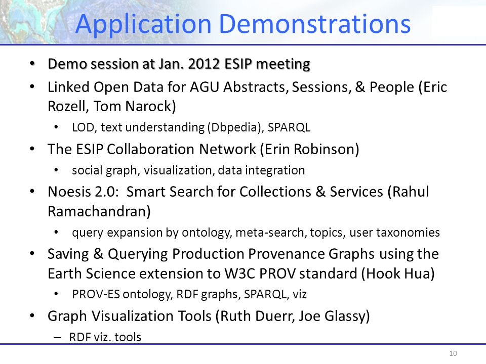 Application Demonstrations 10 Demo session at Jan.