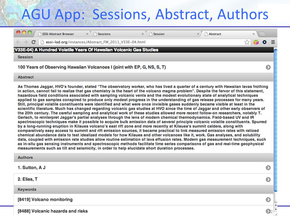 AGU Meeting at a Glance: Web app. for iPhone and browser AGU App: Sessions, Abstract, Authors 12