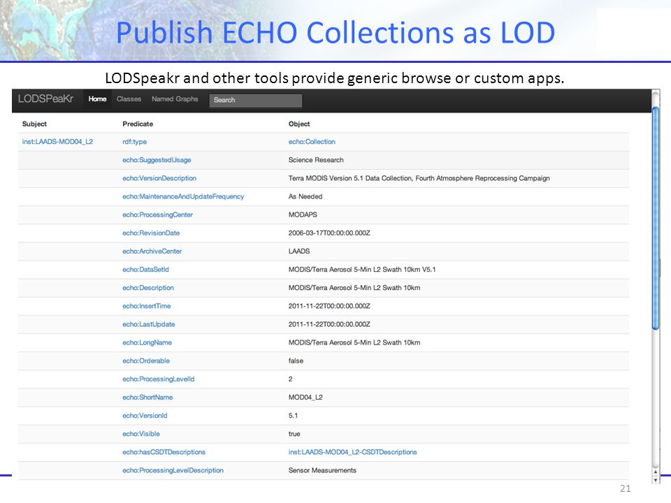 Publish ECHO Collections as LOD 21 LODSpeakr and other tools provide generic browse or custom apps.