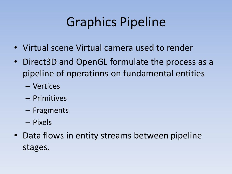 Graphics Pipeline Virtual scene Virtual camera used to render Direct3D and OpenGL formulate the process as a pipeline of operations on fundamental entities – Vertices – Primitives – Fragments – Pixels Data flows in entity streams between pipeline stages.