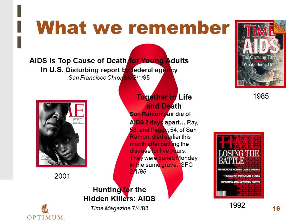 16 1985 What we remember AIDS Is Top Cause of Death for Young Adults in U.S. Disturbing report by federal agency San Francisco Chronicle 2/1/95 Togeth