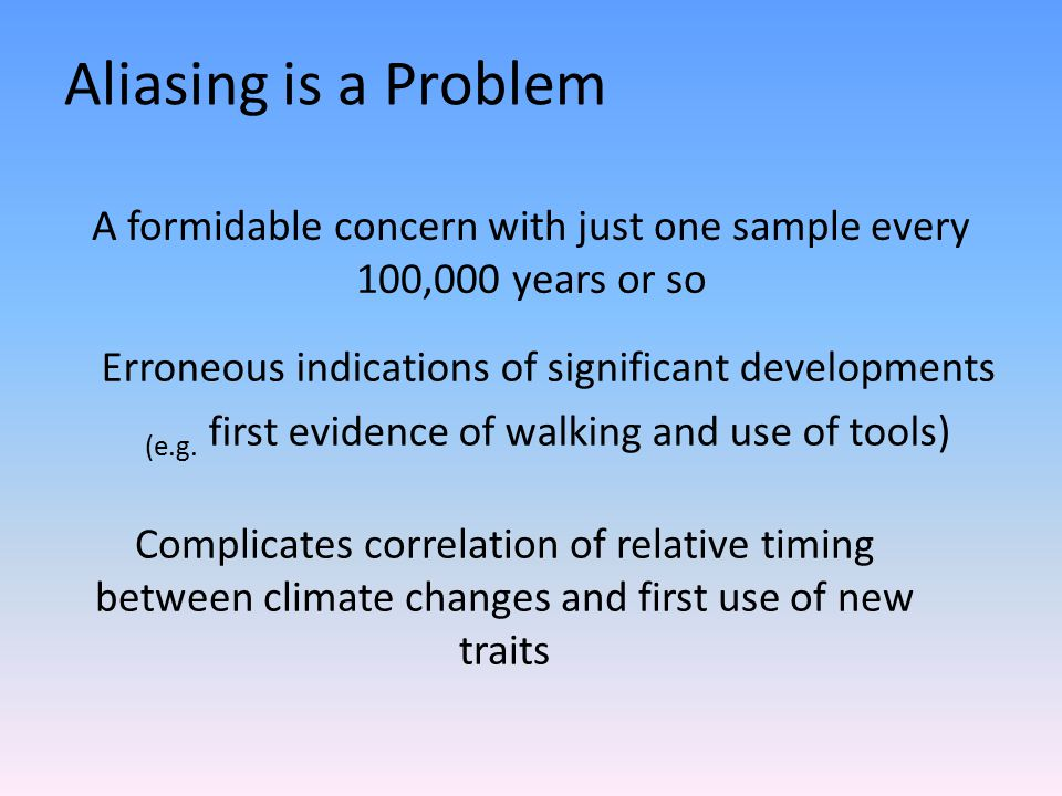 Aliasing is a Problem A formidable concern with just one sample every 100,000 years or so Erroneous indications of significant developments (e.g.
