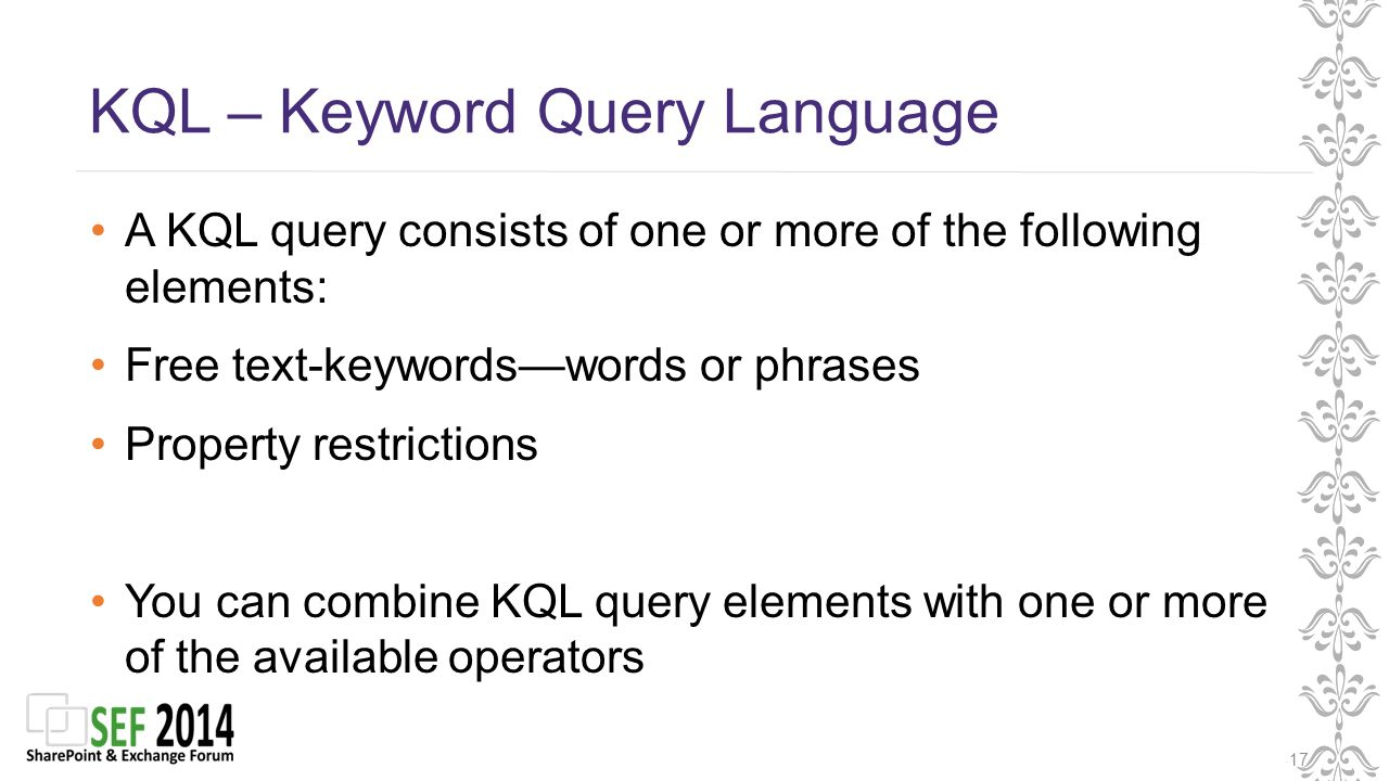KQL – Keyword Query Language 17