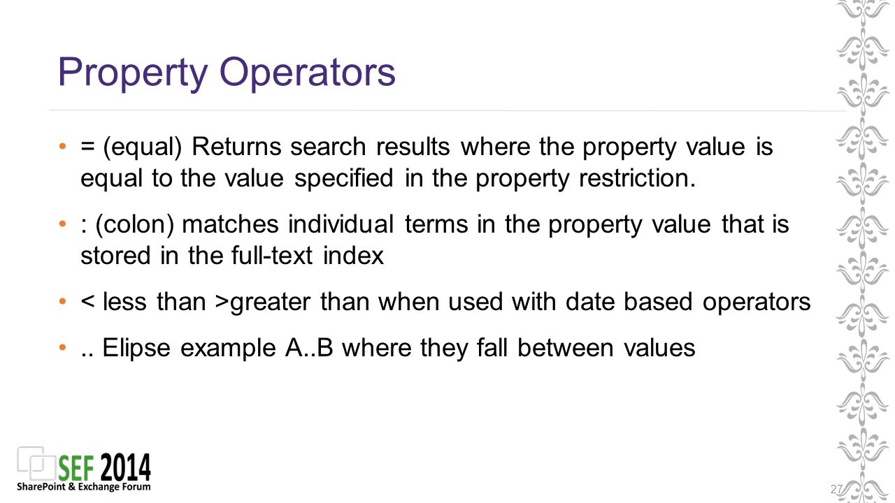 Property Operators 27