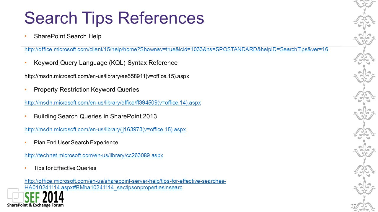 Search Tips References 37