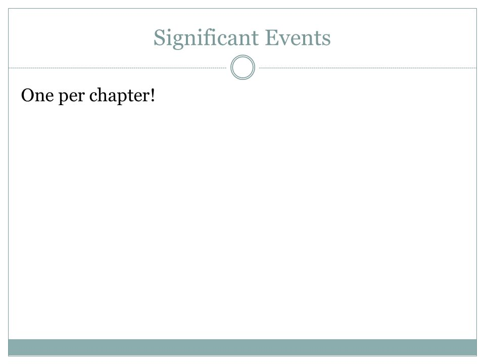 Significant Events One per chapter!
