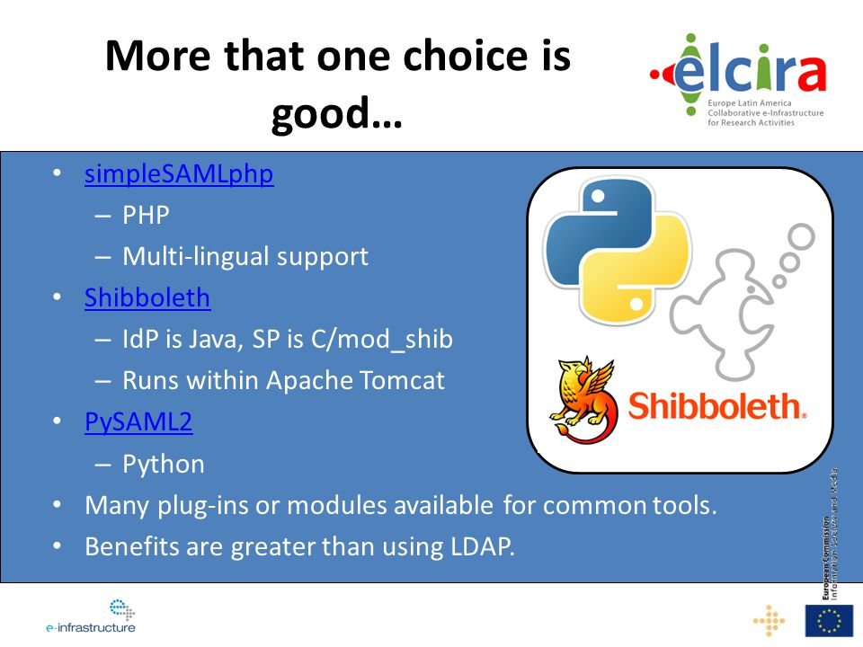 simpleSAMLphp – PHP – Multi-lingual support Shibboleth – IdP is Java, SP is C/mod_shib – Runs within Apache Tomcat PySAML2 – Python Many plug-ins or m