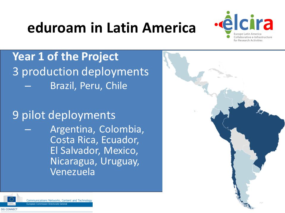 eduroam in Latin America Year 1 of the Project 3 production deployments – Brazil, Peru, Chile 9 pilot deployments – Argentina, Colombia, Costa Rica, E