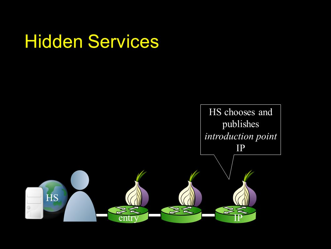 Hidden Services entry IP HS chooses and publishes introduction point IP HS