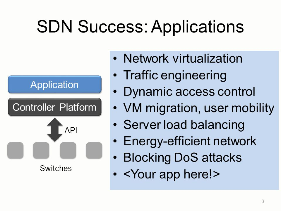 SDN Success: Applications 3 Controller Platform Application API Switches Network virtualization Traffic engineering Dynamic access control VM migratio