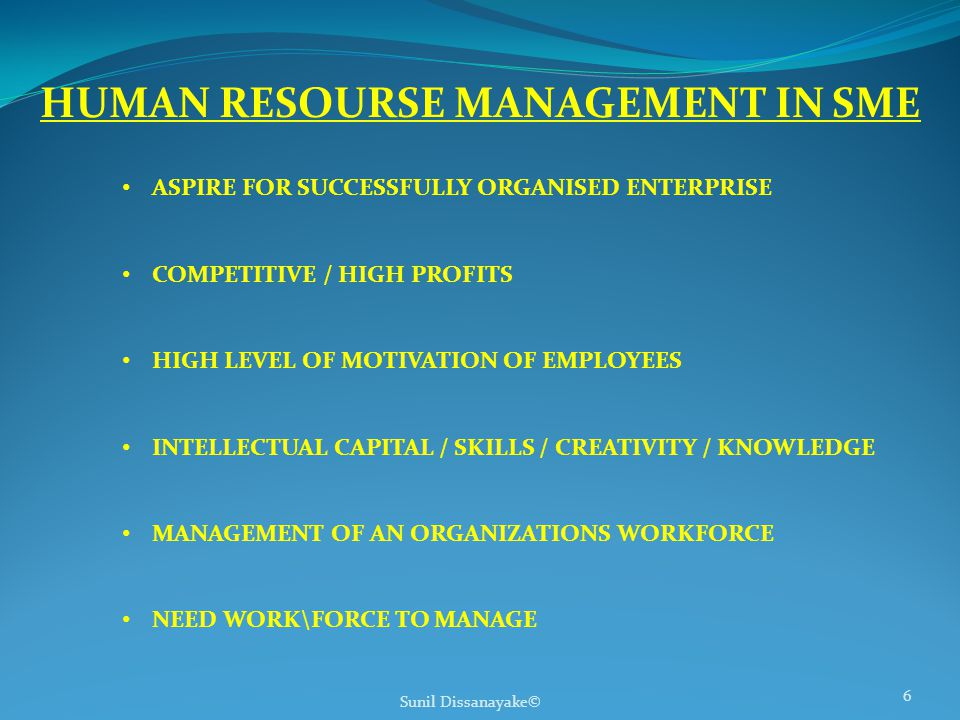 Sunil Dissanayake© 6 HUMAN RESOURSE MANAGEMENT IN SME ASPIRE FOR SUCCESSFULLY ORGANISED ENTERPRISE COMPETITIVE / HIGH PROFITS HIGH LEVEL OF MOTIVATION OF EMPLOYEES INTELLECTUAL CAPITAL / SKILLS / CREATIVITY / KNOWLEDGE MANAGEMENT OF AN ORGANIZATIONS WORKFORCE NEED WORK\FORCE TO MANAGE