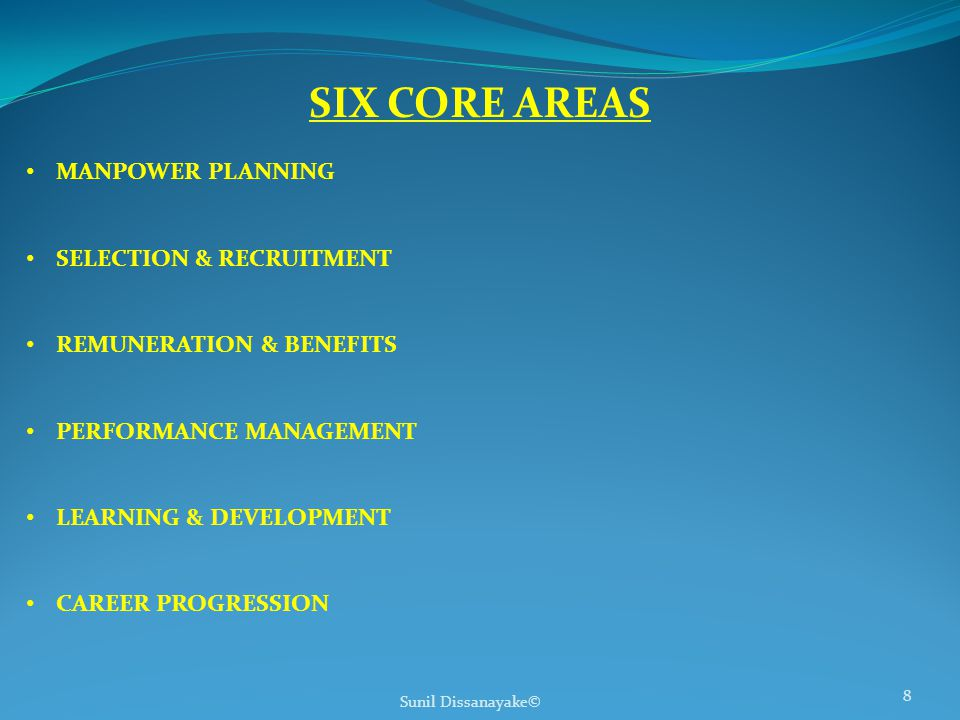 Sunil Dissanayake© 8 SIX CORE AREAS MANPOWER PLANNING SELECTION & RECRUITMENT REMUNERATION & BENEFITS PERFORMANCE MANAGEMENT LEARNING & DEVELOPMENT CAREER PROGRESSION