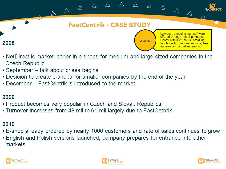 FastCentrik - CASE STUDY Low-cost shopping cart software offered through rental payments.