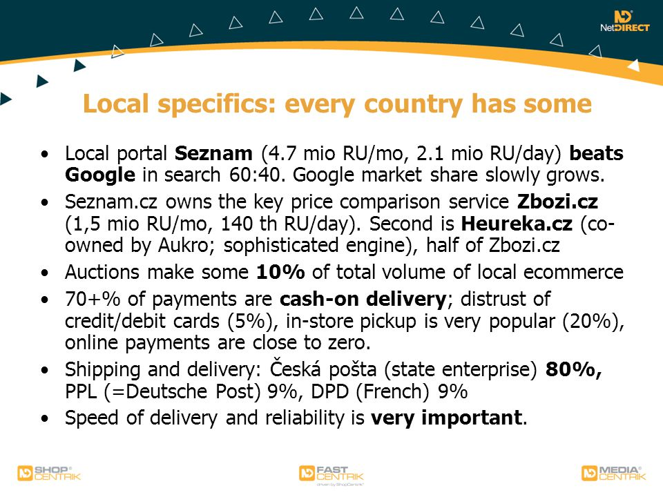 Local specifics: every country has some Local portal Seznam (4.7 mio RU/mo, 2.1 mio RU/day) beats Google in search 60:40.