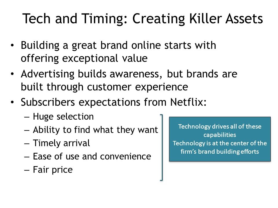 Tech and Timing: Creating Killer Assets Building a great brand online starts with offering exceptional value Advertising builds awareness, but brands are built through customer experience Subscribers expectations from Netflix: – Huge selection – Ability to find what they want – Timely arrival – Ease of use and convenience – Fair price Technology drives all of these capabilities Technology is at the center of the firm's brand building efforts Technology drives all of these capabilities Technology is at the center of the firm's brand building efforts 4-11