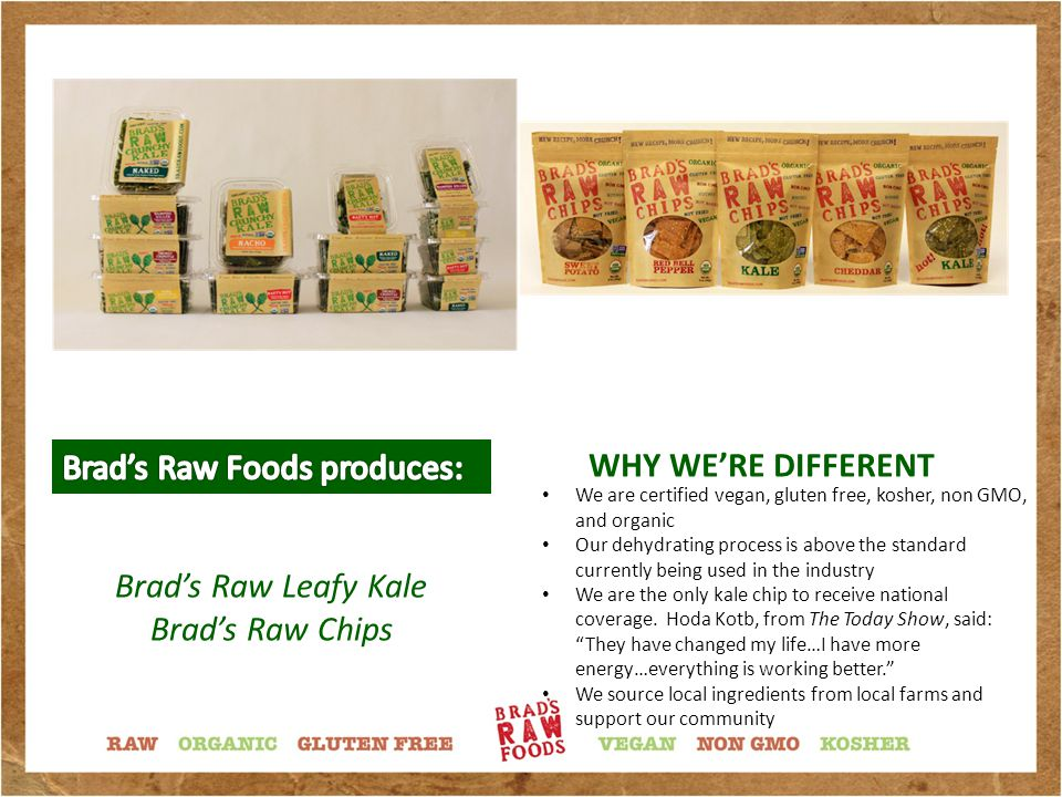 Brad's Raw Crunchy Kale starts out with the most nutritionally dense leafy green vegetable available…fresh, leafy kale.