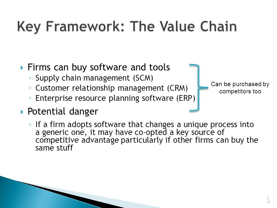  Firms can buy software and tools ◦ Supply chain management (SCM) ◦ Customer relationship management (CRM) ◦ Enterprise resource planning software (E