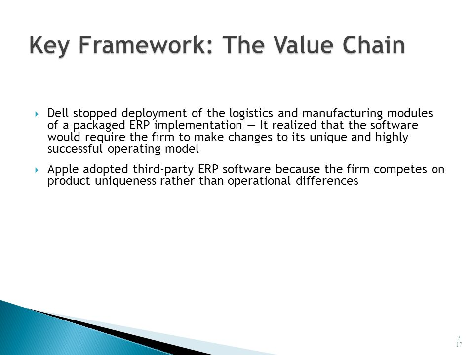  Dell stopped deployment of the logistics and manufacturing modules of a packaged ERP implementation — It realized that the software would require th