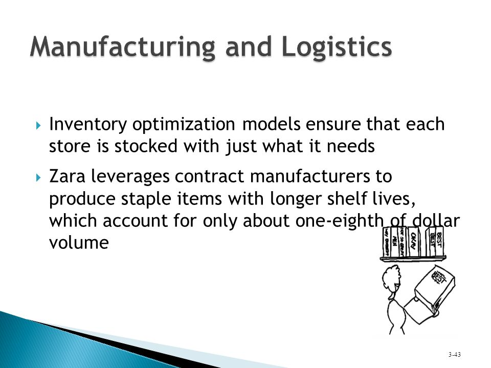  Inventory optimization models ensure that each store is stocked with just what it needs  Zara leverages contract manufacturers to produce staple it