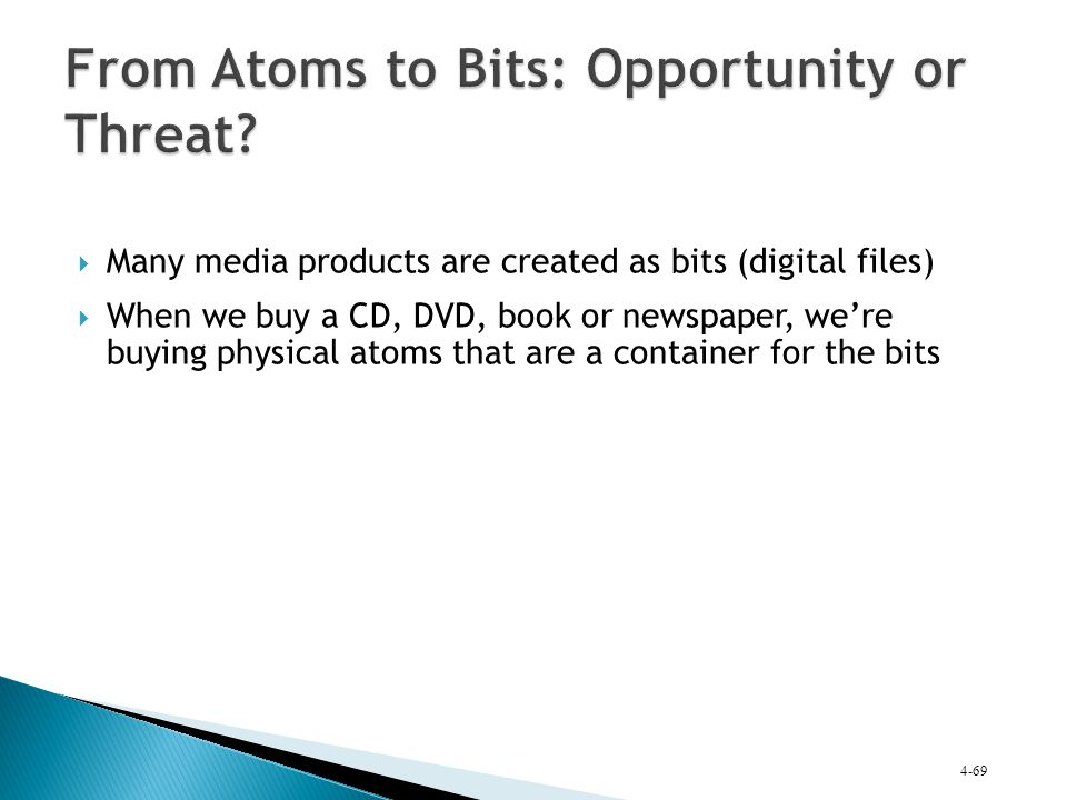  Many media products are created as bits (digital files)  When we buy a CD, DVD, book or newspaper, we're buying physical atoms that are a container