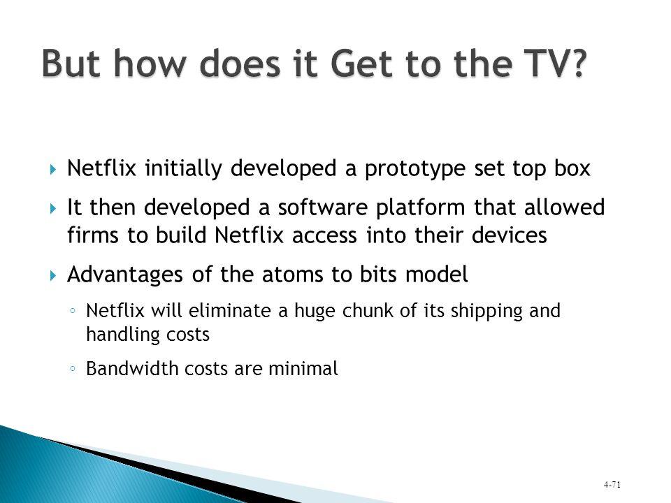  Netflix initially developed a prototype set top box  It then developed a software platform that allowed firms to build Netflix access into their de