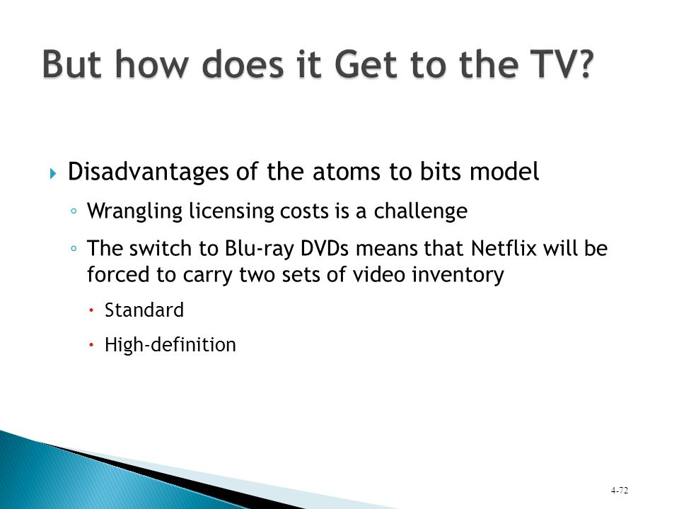  Disadvantages of the atoms to bits model ◦ Wrangling licensing costs is a challenge ◦ The switch to Blu-ray DVDs means that Netflix will be forced t