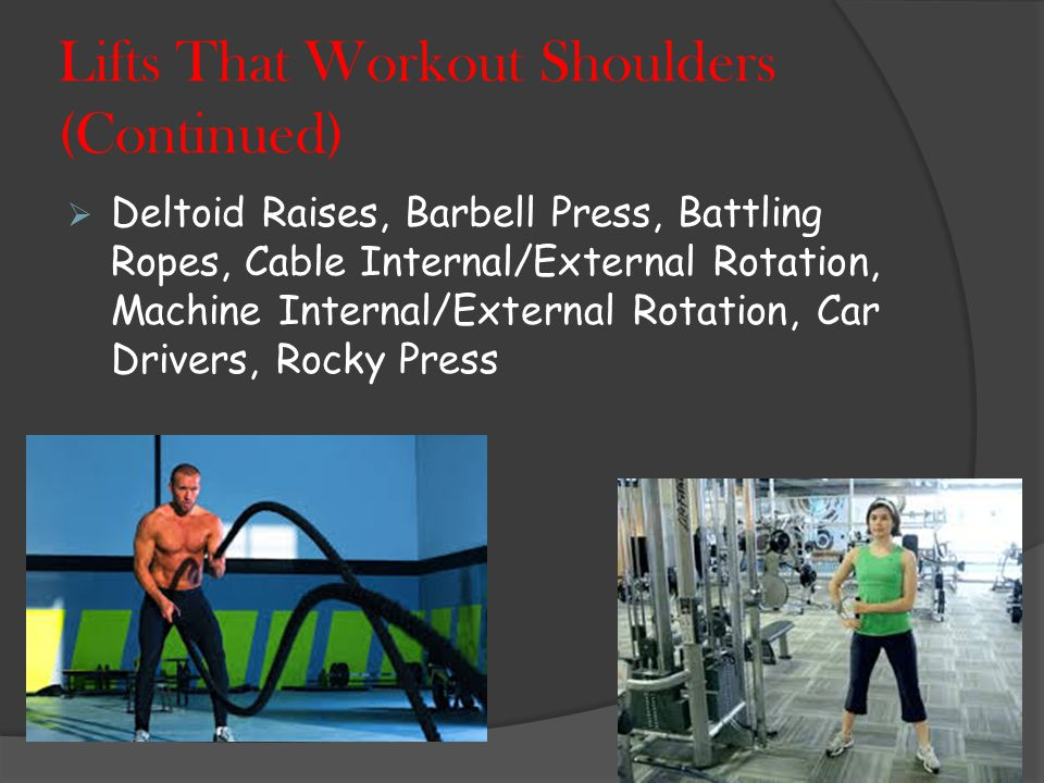 Lifts That Workout Shoulders  Clean & Press, Lateral Raises, Front Raises, Standing Or Seated Dumbbell Press, Military Press, Clean & Jerk, Reverse Fly's