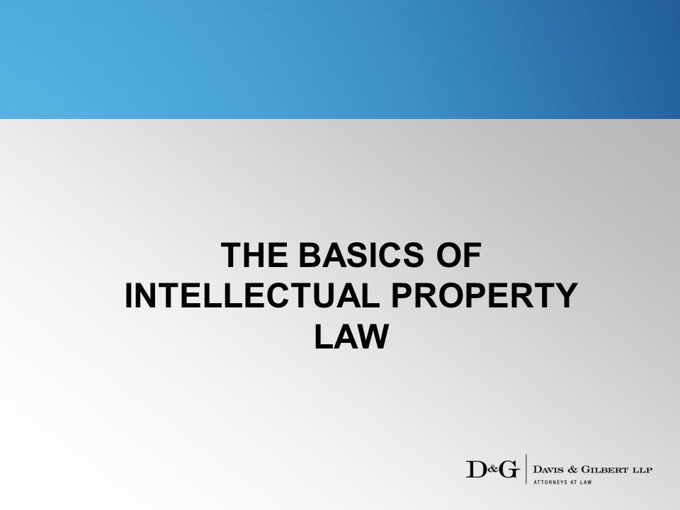 THE BASICS OF INTELLECTUAL PROPERTY LAW