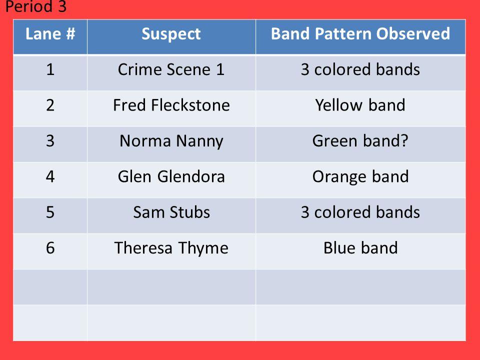 Lane #SuspectBand Pattern Observed 1Crime Scene 13 colored bands 2Fred FleckstoneYellow band 3Norma NannyGreen band.
