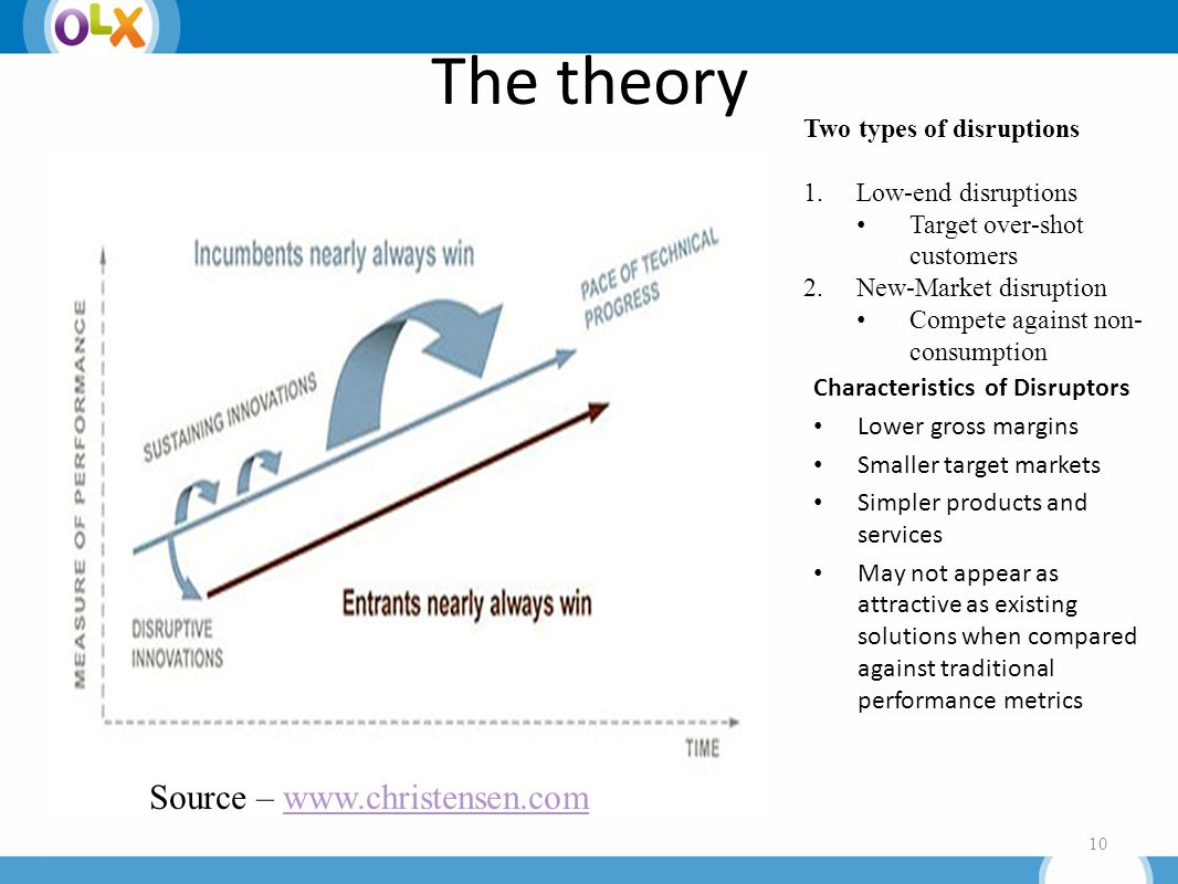 The theory Characteristics of Disruptors Lower gross margins Smaller target markets Simpler products and services May not appear as attractive as existing solutions when compared against traditional performance metrics 10 Source – www.christensen.comwww.christensen.com Two types of disruptions 1.Low-end disruptions Target over-shot customers 2.New-Market disruption Compete against non- consumption