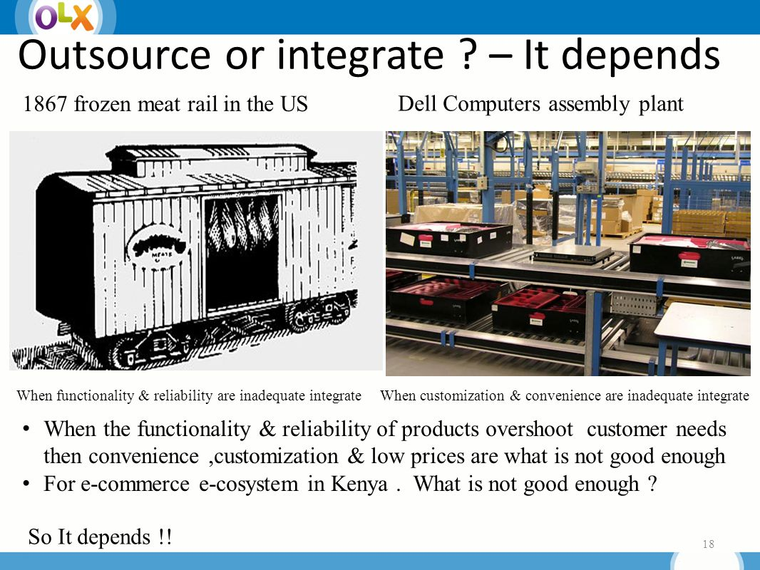 Outsource or integrate . – It depends 18 So It depends !.