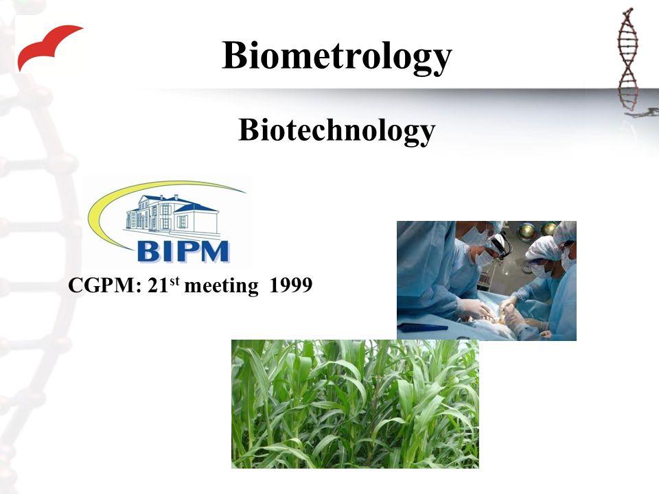 Biometrology Biotechnology CGPM: 21 st meeting 1999