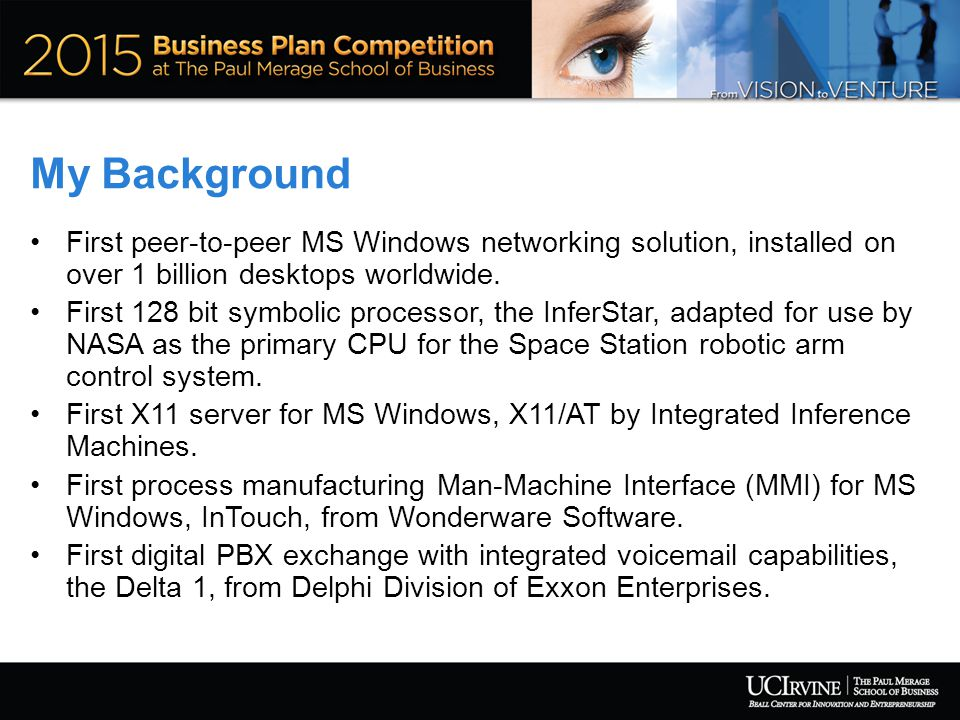 My Background First peer-to-peer MS Windows networking solution, installed on over 1 billion desktops worldwide.