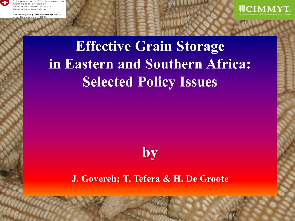 Effective Grain Storage in Eastern and Southern Africa: Selected Policy Issues by J.