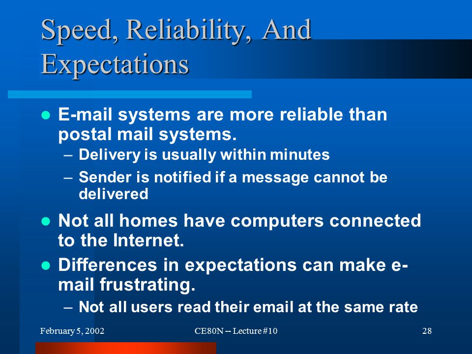 February 5, 2002CE80N -- Lecture #1028 Speed, Reliability, And Expectations E-mail systems are more reliable than postal mail systems.